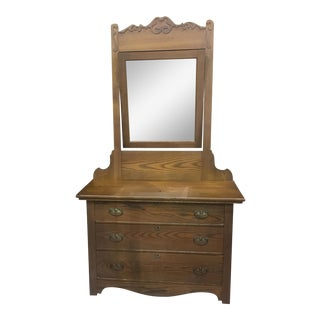 Antique Oak Dresser and Mirror For Sale