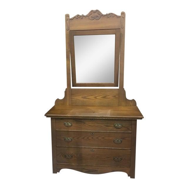 Antique Oak Dresser And Mirror Chairish