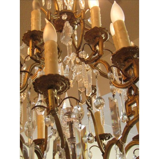 Antique Gold Metal Crystal Chandelier - Image 4 of 6