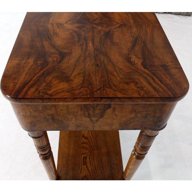 19th Century Biedermeier Burl Walnut One Drawer Sewing Stand Table For Sale - Image 12 of 13