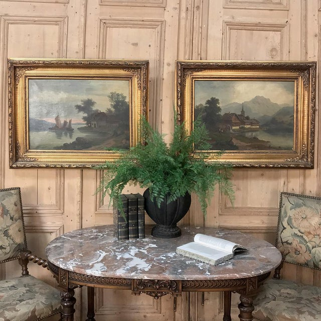 Pair 19th Century Framed Oil Paintings on Canvas depict exquisite pastoral scenes, designed to complement one another ~...