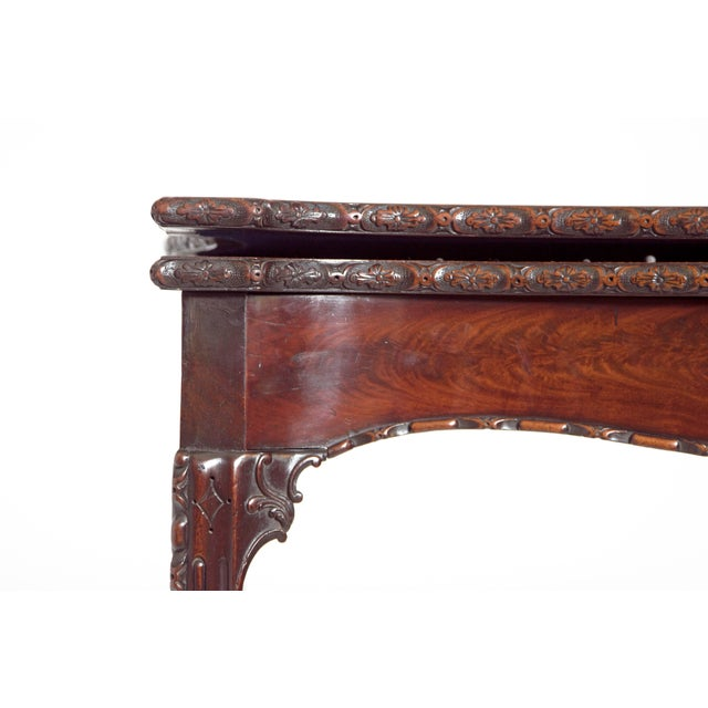 Blue Pair of 18th Century George III Mahogany Card Tables For Sale - Image 8 of 13
