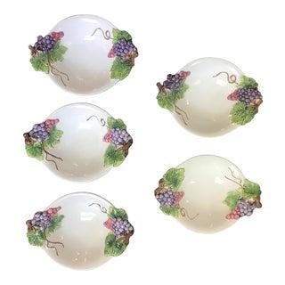 Italian Art Pottery Majolica Dessert Bowls - Set of 5 For Sale