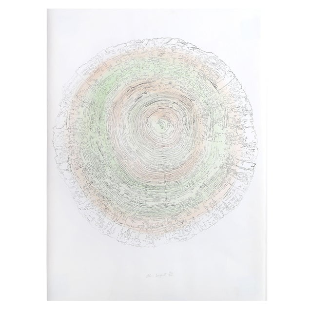 Alan Sonfist - Tree Trunk Series Green Lithograph For Sale