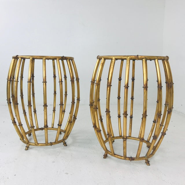Metal Pair of Gold Faux Bamboo Drum Side Tables With Mirrored Tops For Sale - Image 7 of 12
