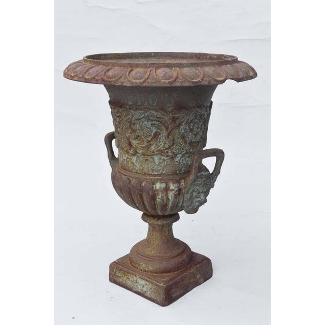 Cast Iron Pair of 19th Century French Iron Garden Urns For Sale - Image 7 of 11