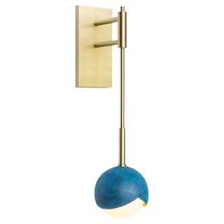 Benedict Wall Sconce in Prussian Blue and Satin Brass With White Opal Glass For Sale
