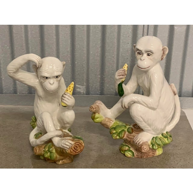 Vintage White Italian Ceramic Monkeys - a Pair For Sale - Image 12 of 13