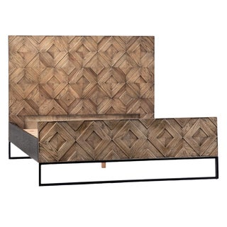 Modern Wood Parquet Eastern King Bed For Sale