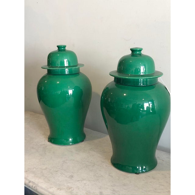 Emerald Temple Jars - A Pair For Sale - Image 4 of 8