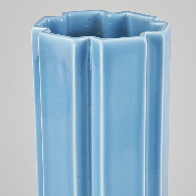A rare Karin Björquist's vase with geometric shape and glossy light blue glaze. It was designed in 1967 as part of the...