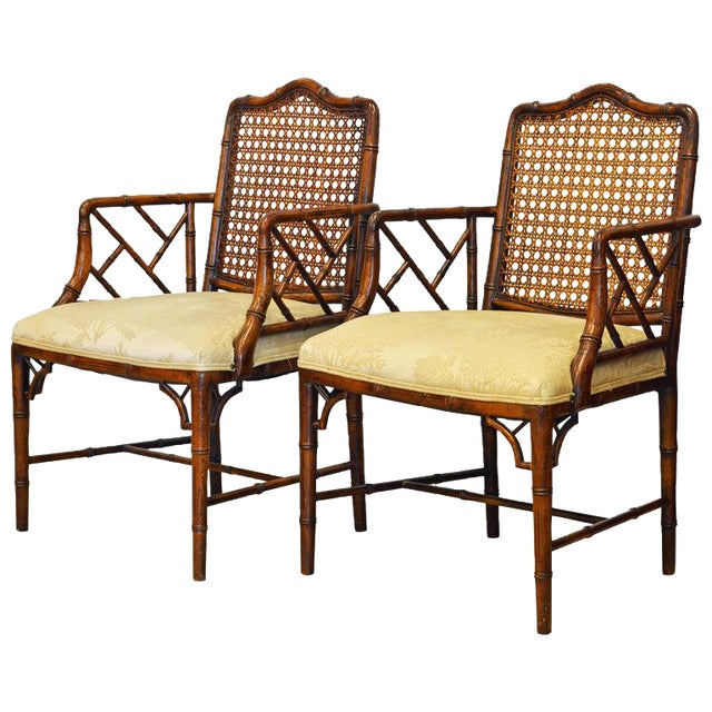 Pair of Chinoiserie Chippendale Style Upholstered Faux Bamboo Wooden Armchairs For Sale