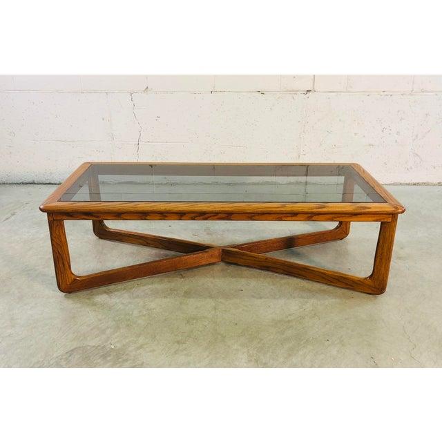 Vintage Lane Furniture Oak Wood Smoked Glass Coffee Table Chairish