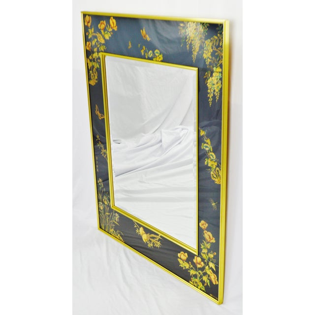 Vintage LaBarge Reverse Painted Glass Frame with Beveled Mirror - Artist Signed Condition consistent with age and history....