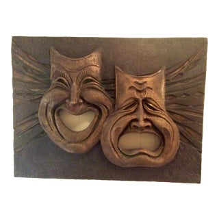 Mid-Century Modern Sculptural Comedy & Tragedy Faces Wall Hanging