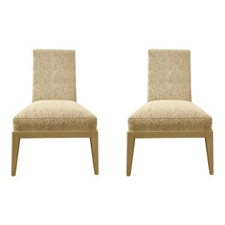 Caracole Fifth Avenue Gray Upholstered Chairs - a Pair For Sale