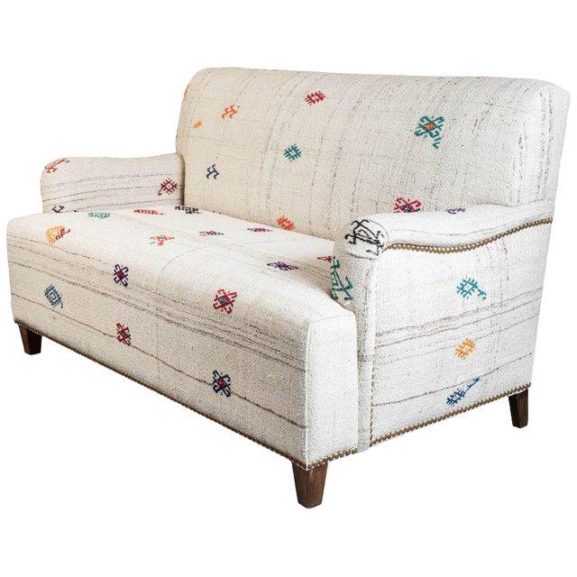 Custom-Made Settee, Upholstered in a Vintage Flat-Weave Kilim Rug For Sale