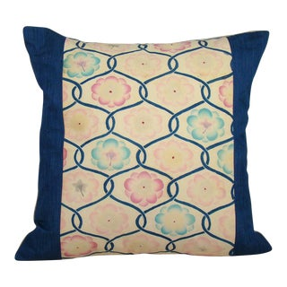 Hand Stenciled Lotus Blossom Japanese Obi Pillow Cover For Sale
