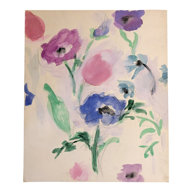 Vintage Original Abstract Floral Watercolor Painting 1970's For Sale