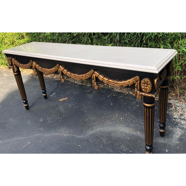 Louis XVI Black & Gold Louis XVI Style Console Table by Charles Pollock for William Switzer For Sale - Image 3 of 5