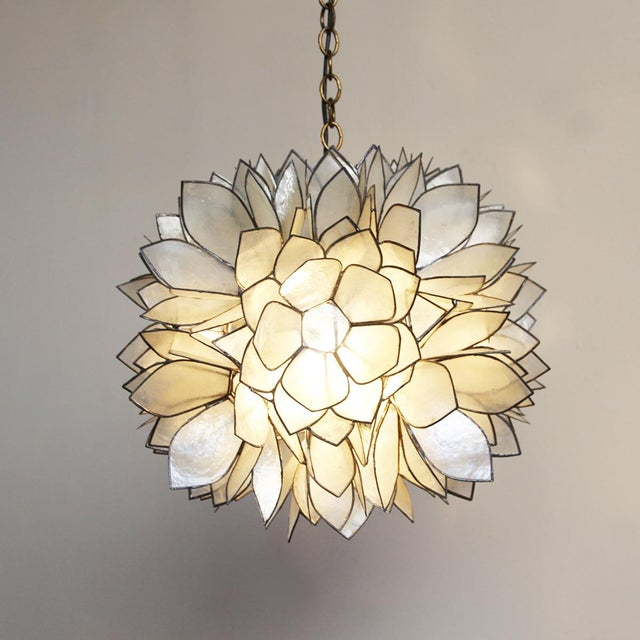 Modern Lotus Flower Capiz Lantern For Sale - Image 3 of 3