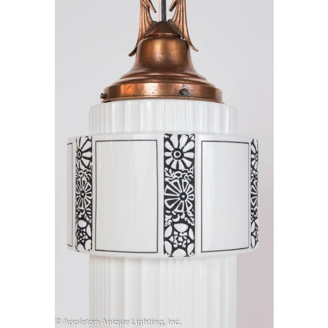 Restored Art Deco Milk Glass Pendant With Copper Fixture For Sale In Boston - Image 6 of 8