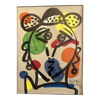 "1993 ""Pablo Picasso With a Hat"" Painting by Peter Robert Keil"