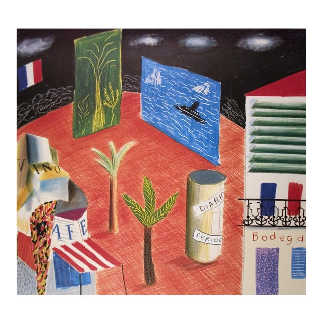 David Hockney, Detail From the Zanzibar With Postcards and Kiosks Set, Lithograph, 1982 For Sale