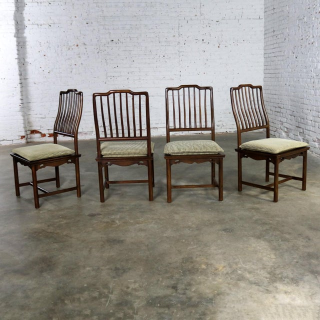 Four Drexel Heritage Chinoiserie Ming Style Spindle Back Dining Chairs For Sale - Image 13 of 13