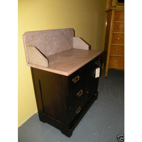 Antique Eastlake Style Marble Top Dry Sink Table - Image 3 of 9