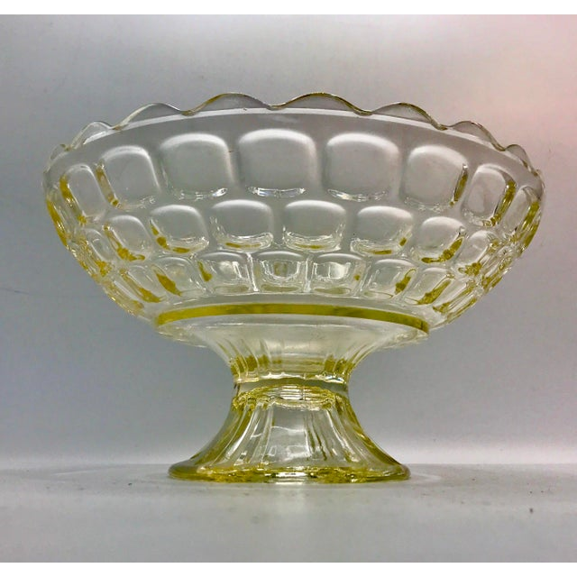 Glass 1940s Federal Glass Topaz Honeycomb Pedestal Centerpiece Bowl For Sale - Image 7 of 7
