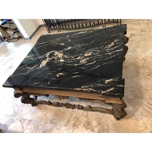 1960s 1960s Traditional Coffee Table With Marble Top For Sale - Image 5 of 9