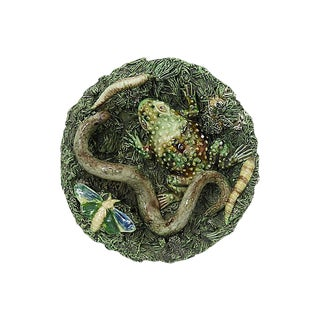 Antique Jose Cunha Majolica Frog & Snake Plate For Sale