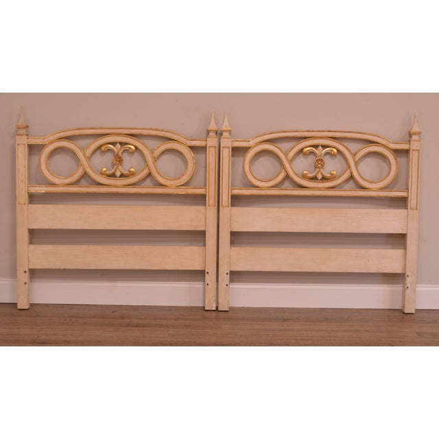 Traditional John Widdicomb French Regency Style Off White and Gilt Accent Pair Twin Headboards For Sale - Image 3 of 12