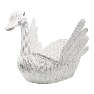 Vintage Large White Wicker Swan Basket For Sale