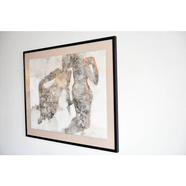 Abstract charcoal on paper and pencil 'Yin and Yang' by California Artist Bernice Riley. Signed lower right,...