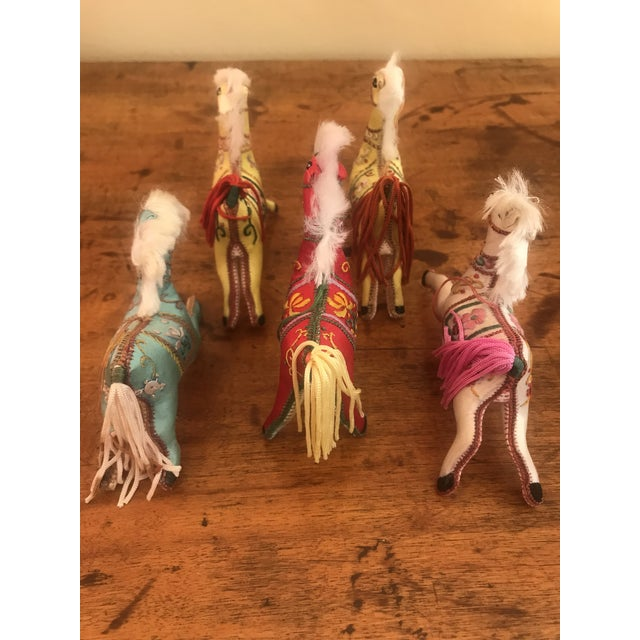 1970s Children's Embroidered Satin Horse Christmas Ornaments - Set of 5 For Sale - Image 9 of 10