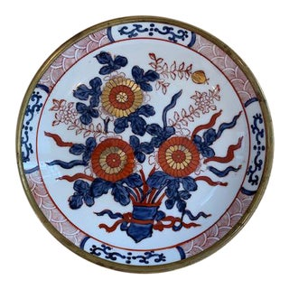 Porcelain and Brass Decorative Plate For Sale