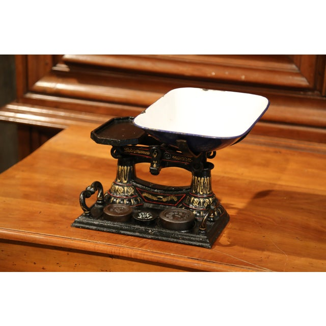This beautiful, antique iron scale was forged in England, circa 1860. The scale features a removable enamel tray and three...