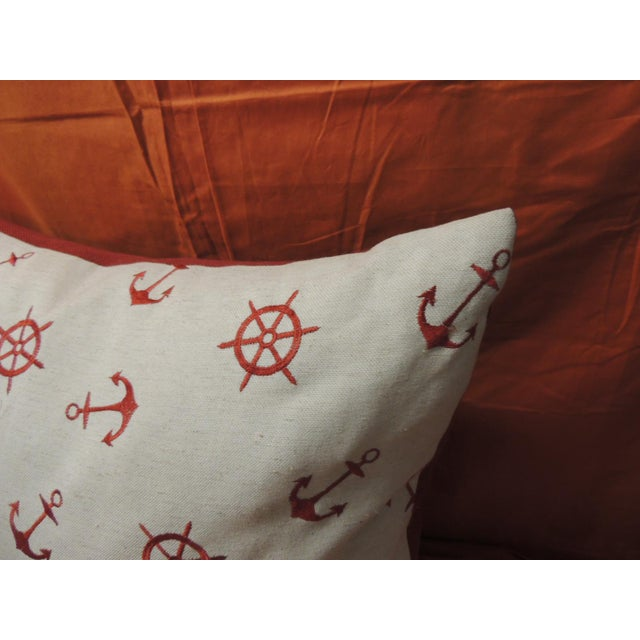 Boho Chic Red and Natural Embroidered Nautical Decorative Pillow For Sale - Image 3 of 5