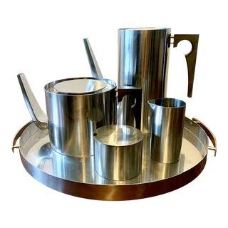 Vintage Cylinda Line Coffee & Tea Set by Arne Jacobsen, Denmark - 5 Piece Set For Sale