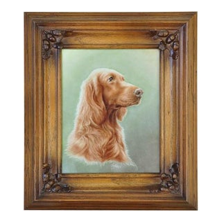 German Hand Painted Porcelain Plaque Showing a Dog
