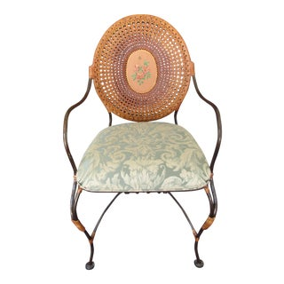 Double Cane and Medallion Arm Chair For Sale