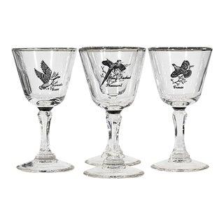 1960s Wild Bird Glass Stems, Set of 4 For Sale
