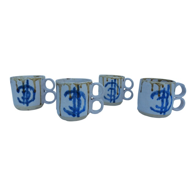 1975 Blackwell Hand Thrown Coffee Mugs - Set of 4 For Sale