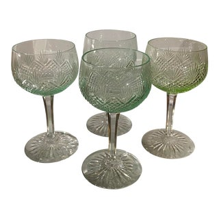 Antique American Brilliant Cut Glass Green Wine Stems - Set of 4 For Sale