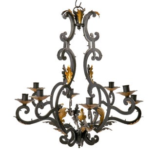 Vintage Italian Iron Eight Arm Chandelier Frame With Gold Painted Leaves For Sale