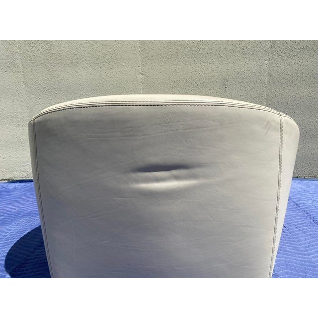 2004 Minotti Capri White Leather Chairs and Ottoman- 3 Pieces For Sale - Image 12 of 13