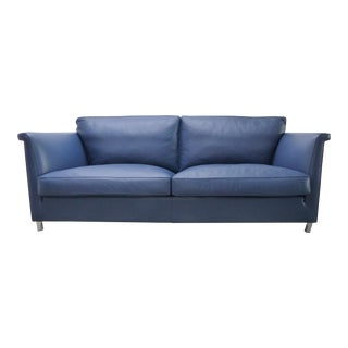 Valdichienti Blue Leather Polo Sofa by Giuseppe Bavuso For Sale