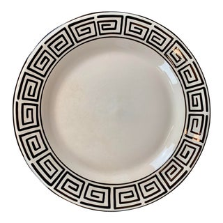 "Round 14"" Platter With Hand Painted Greek Key Border For Sale"